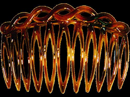 Geschwungener Steckkamm, havannabraun, 8 cm