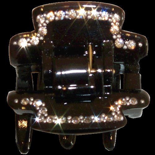 Haarklammer Schwarz Strass - 4 cm