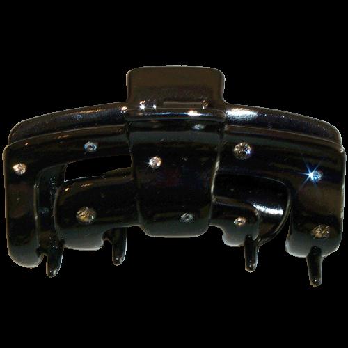 Haarklammer Schwarz Strass - 7 cm