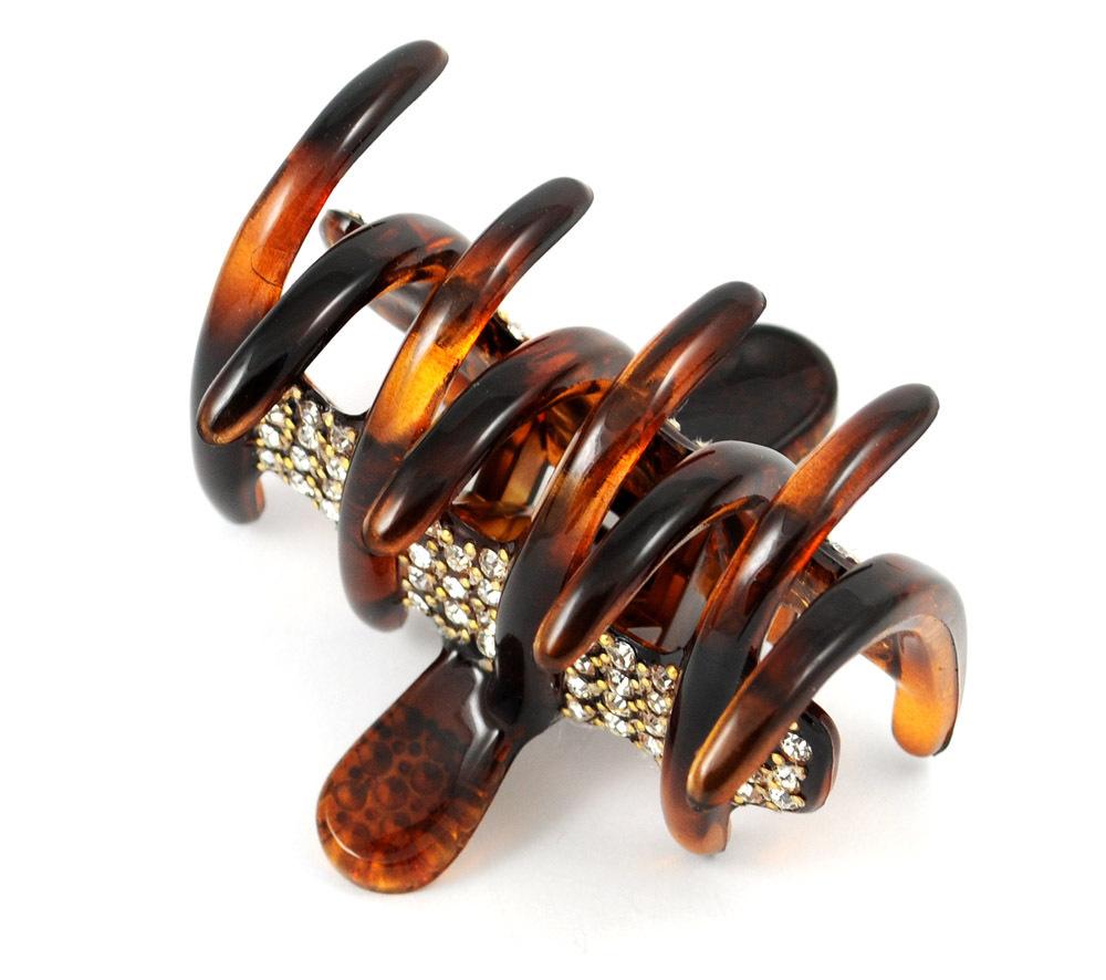 Exclusiver Haar-clip in havannabraun
