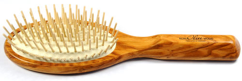 Hair-brush olive wood with wooden pins