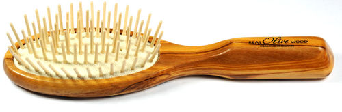 Hair-brush with wooden pins
