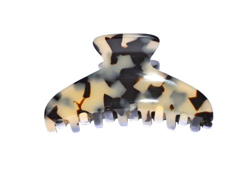 Haarklammer Schildpatt weiß - 8,5 cm