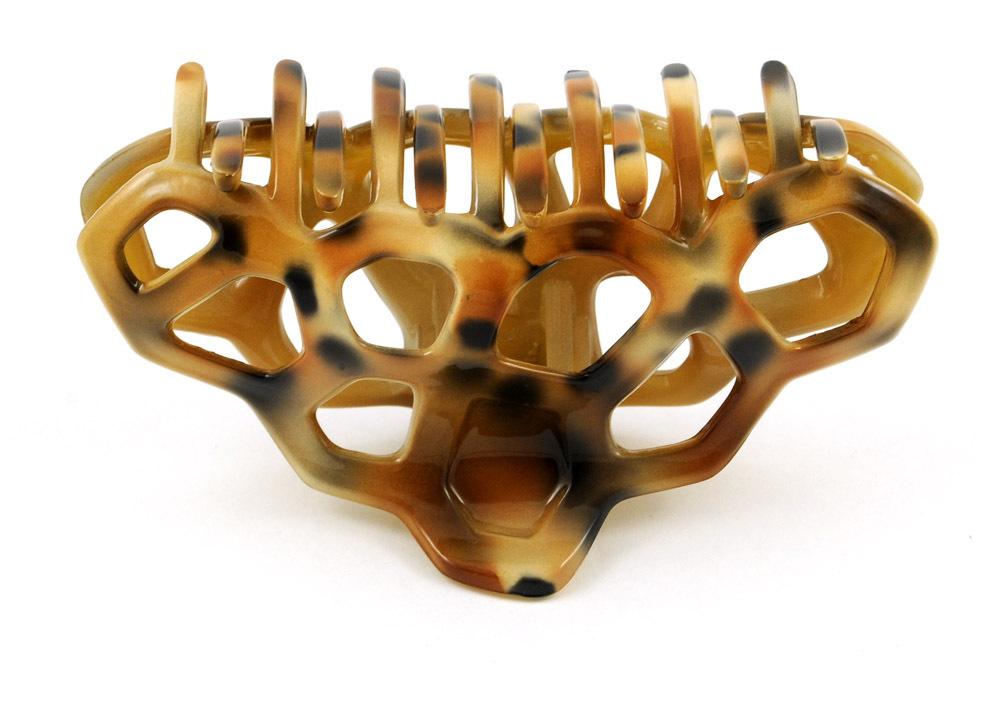 Haarklammer - 8,5 cm, schwarz-braun-beige