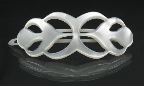 Haarspange perlweiß - 8 cm